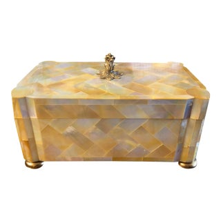 Vintage Large Maitland Smith Mother of Pearl Box For Sale