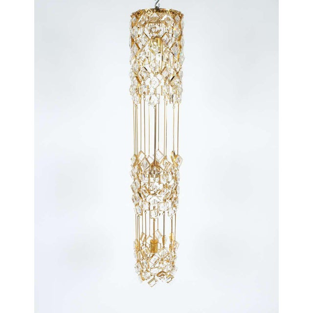 Brass Golden Brass and Crystal Column Chandelier Lamp by Palwa, 1960 For Sale - Image 7 of 9