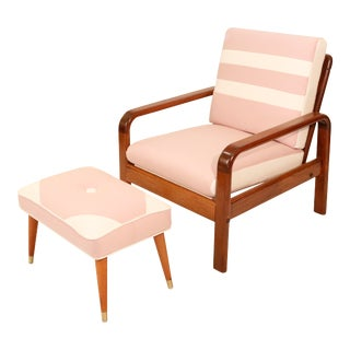 Mid Century Danish Curated Teak Arm Lounge Chair With Pink Wool Cushions and Ottoman For Sale