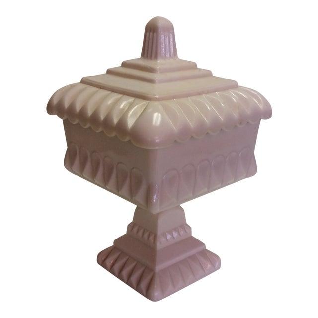 Vintage Pink Milk Glass Covered Candy Pedestal Bowl - Wedding Box For Sale