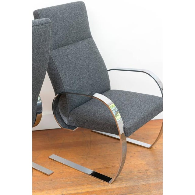 Gray Gray Wool & Chrome Cantilever Armchairs - a Pair For Sale - Image 8 of 9