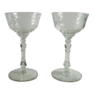 Vintage Cut Glass Wine Stems - a Pair For Sale