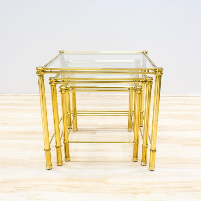 Italian Brass & Glass Nesting Tables - Set of 3 - Image 5 of 11
