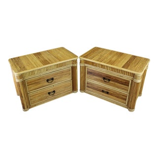 2-Drawers Bamboo Nightstands - a Pair