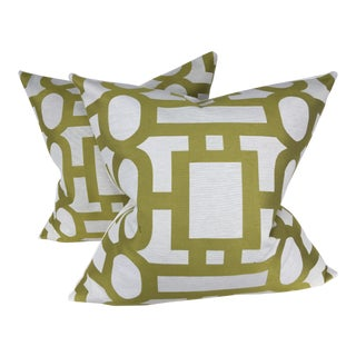 Geometric Green and Cream Pillows - A Pair For Sale