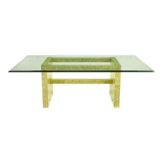 Henredon Circa 75 Glass & Marbleized Base Dining Table For Sale