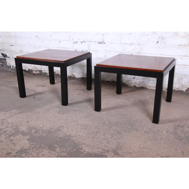 Milo Baughman for Thayer Coggin Walnut and Ebonized Wood Side Tables, Newly Restored For Sale In South Bend - Image 6 of 9
