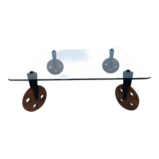 Postmodern Glass Coffee Table With Wheels in the Style of Gae Aulenti For Sale