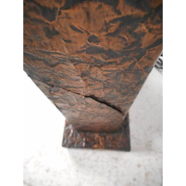 Unique Mid-Century Modern Textured Copper Table Lamp - Image 8 of 11