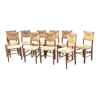 Charlotte Perriand Rare Set of Ten Rush Bauche Chairs For Sale