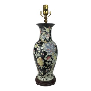 Chinese Floral Vase Lamp For Sale