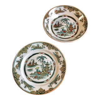 Antique Chinoiserie Petrus Regout & Co. Maastricht Honc Pattern Plate and Bowl, Holland - Set of 2 For Sale