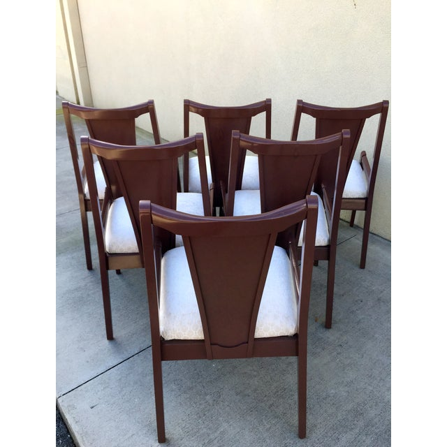 High Back Lacquered Dining Chairs - Set of 6 - Image 4 of 11