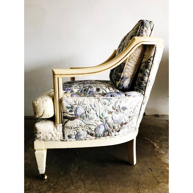 Baker Furniture Company Baker Vintage Violet Floral Club Lounge Chair - Pair For Sale - Image 4 of 8