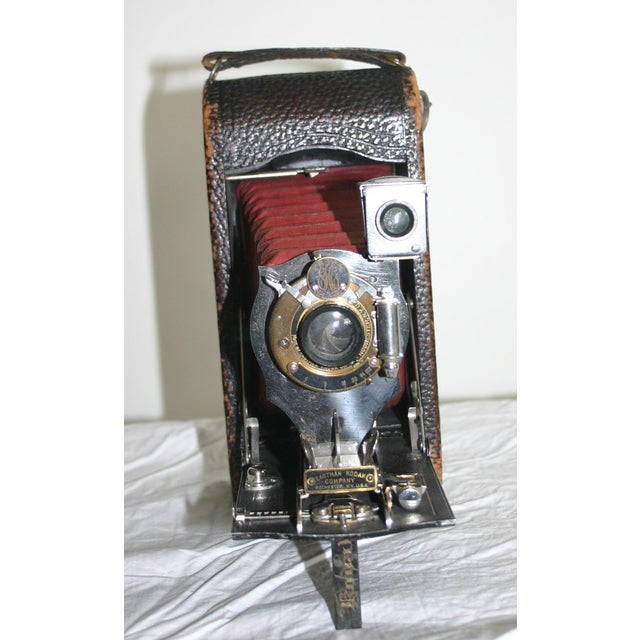Early American Kodak Red Bellow Folding Camera For Sale - Image 3 of 6
