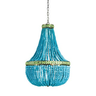 Currey & Company Hedy Turquoise Beaded Chandelier (9770) For Sale