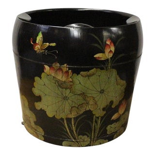 Chinese Black Flower Butterflies Round Large Wood Bucket