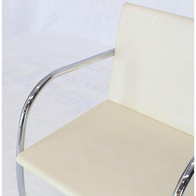 Bauhaus Pair of Thin Pad Tubular Brno Knoll Cream Leather Chairs Midcentury Bauhaus For Sale - Image 3 of 13