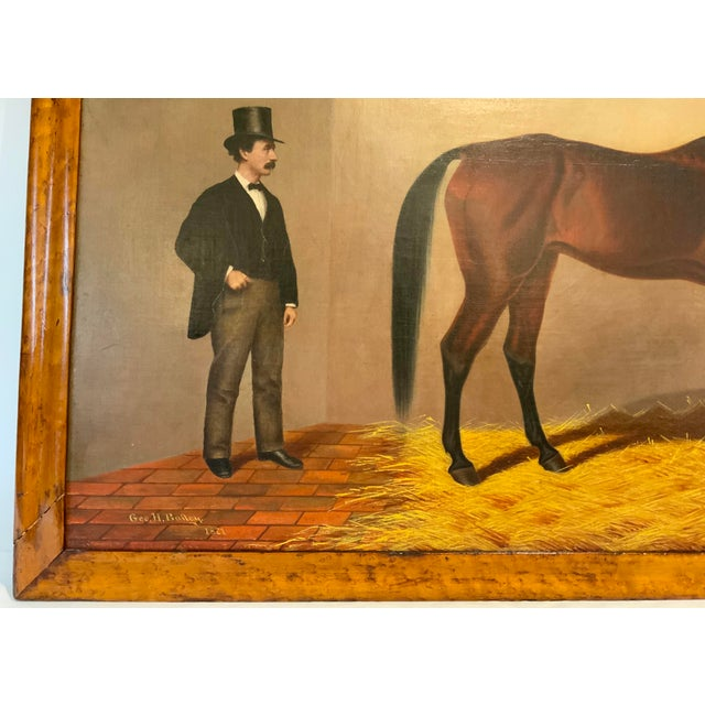 19th Century Equestrian Stall Oil Painting, Framed For Sale - Image 10 of 13