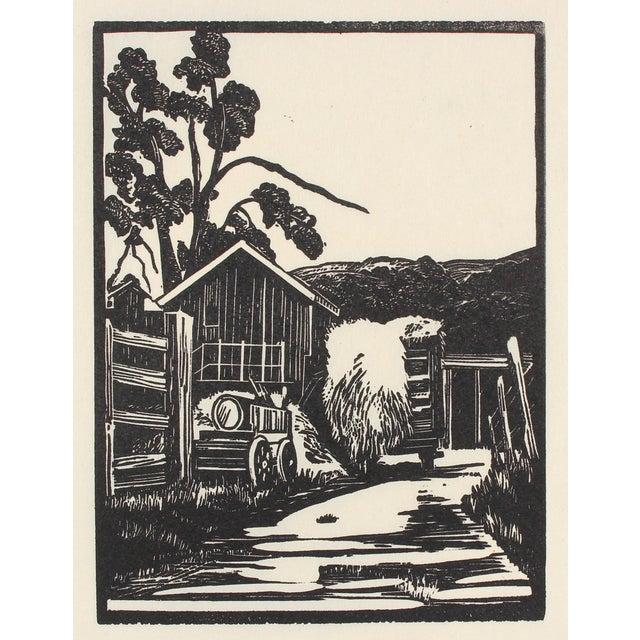 1940s Roadside Linoleum Block Print by Mary Watterick Evans For Sale