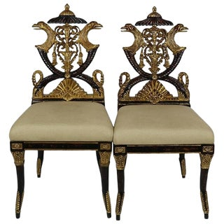 French Empire Style Ebonized and Giltwood Carved Chairs - a Pair For Sale