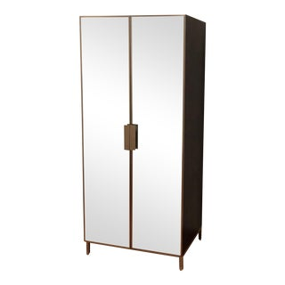Dark Walnut Wood & Stainless Steel Mirrored Armoire