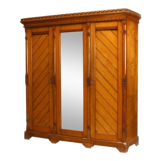 English Arts & Crafts Pine Armoire Cabinet For Sale