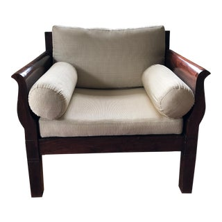 British Colonial Style Sheesham Wood Accent Chair For Sale