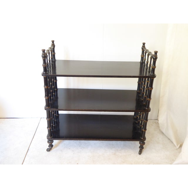 Antique Regency Style Laquered Etagere For Sale - Image 4 of 5