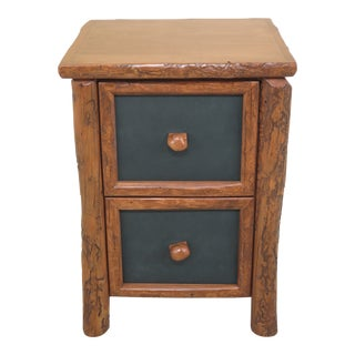 1990s Adirondack Style 2 Drawer Oversized Nightstand For Sale