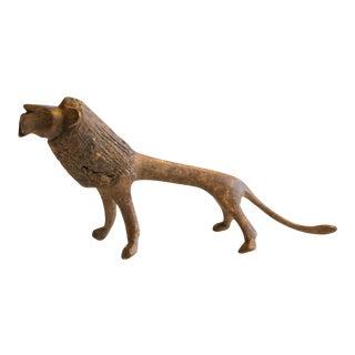 Vintage African Bronze Alloy Lion For Sale