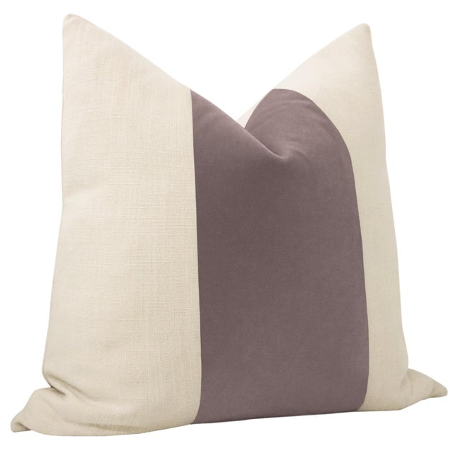 "Contemporary 22"" Smokey Lavender Mohair Velvet Panel & Linen Pillows - a Pair For Sale - Image 3 of 6"