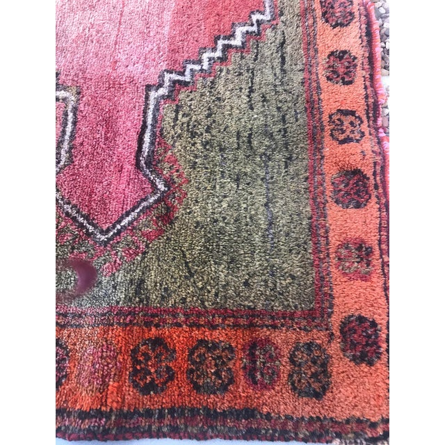 """Red Hand Made Vintage Small Turkish Runner- 2'1"""" X 4'5"""" For Sale - Image 8 of 10"""