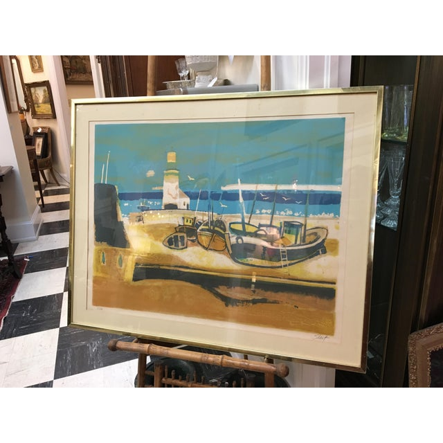 "Sign coastal lithograph by Serge Shart (1927-2011) Framed size: 33.75"" x 27"" Print: 29"" x 21.5"""