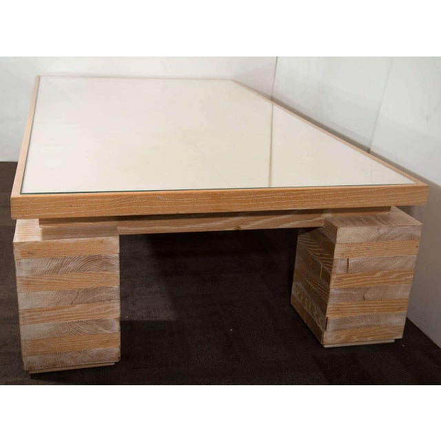 Art Deco Monumental Limed Oak Coffee Table With Parchment Top For Sale - Image 3 of 8