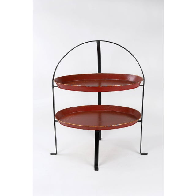 Red Vintage Curved Metal Tray Stand With Red Trays For Sale - Image 8 of 8