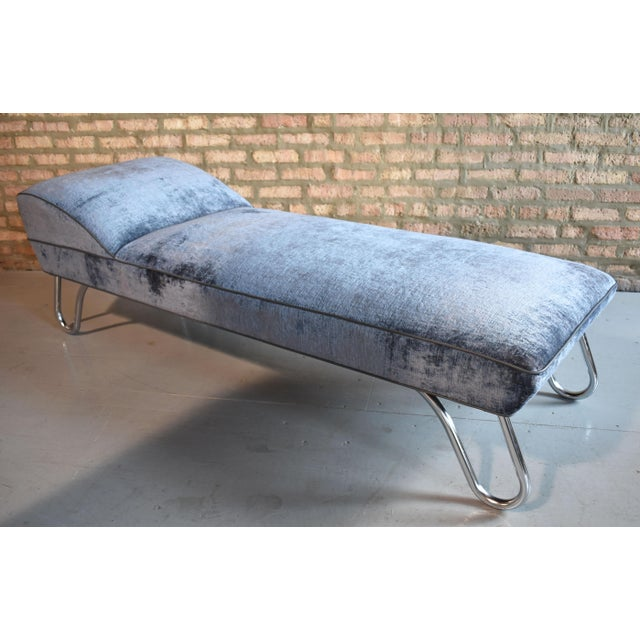 Art Deco style chaise with tubular chrome legs attributed to Kem Weber. Newly reupholstered in crushed velvet and faux...