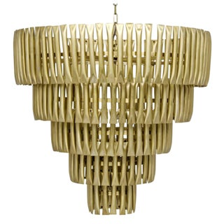 Industrial Modern Brass Finished Chandelier For Sale