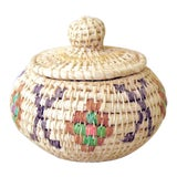 Image of Vintage Tribal Coiled Basket With Lid For Sale