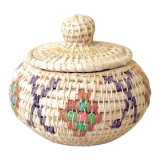 Vintage Tribal Coiled Basket With Lid For Sale