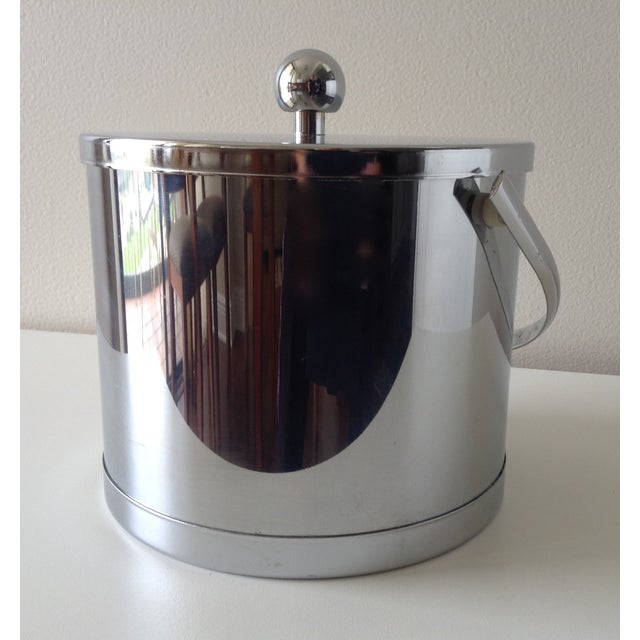 Vintage Chrome Ice Bucket With Tongs - Image 2 of 6