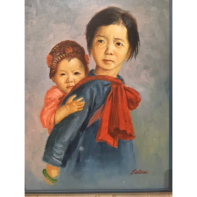Vintage Portrait of Mother and Child Oil Painting, Framed For Sale - Image 4 of 8