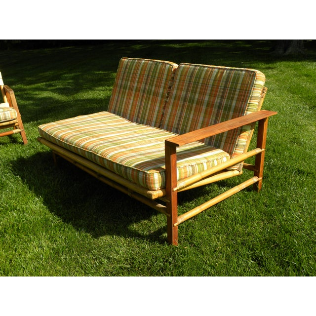 Ficks Reed Vintage Day Bed & Leather Back Chairs For Sale In New York - Image 6 of 11