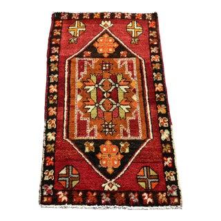 1960s Turkish Handmade Wool Rug- 1′8″ × 3′ For Sale