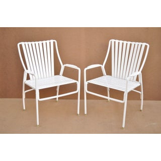 Vintage Mid Century White Aluminum Vinyl Strap Patio Outdoor Dining Chairs- Set of 4 Preview