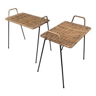 Calif-Asia Wicker and Iron End Tables - a Pair For Sale