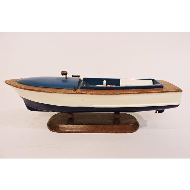 Metal Blue Wooden Model Pleasure Boat For Sale - Image 7 of 7