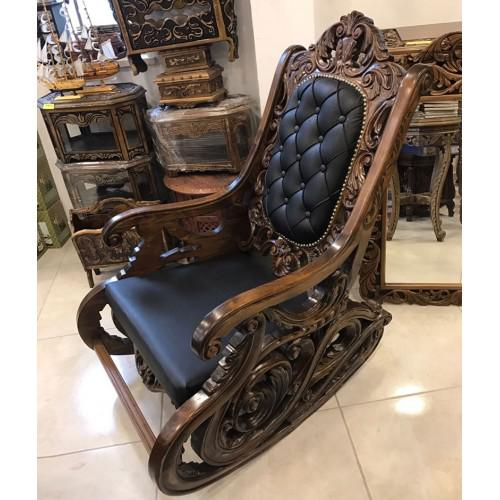 Walnut Carved Rocking Chair For Sale - Image 6 of 6