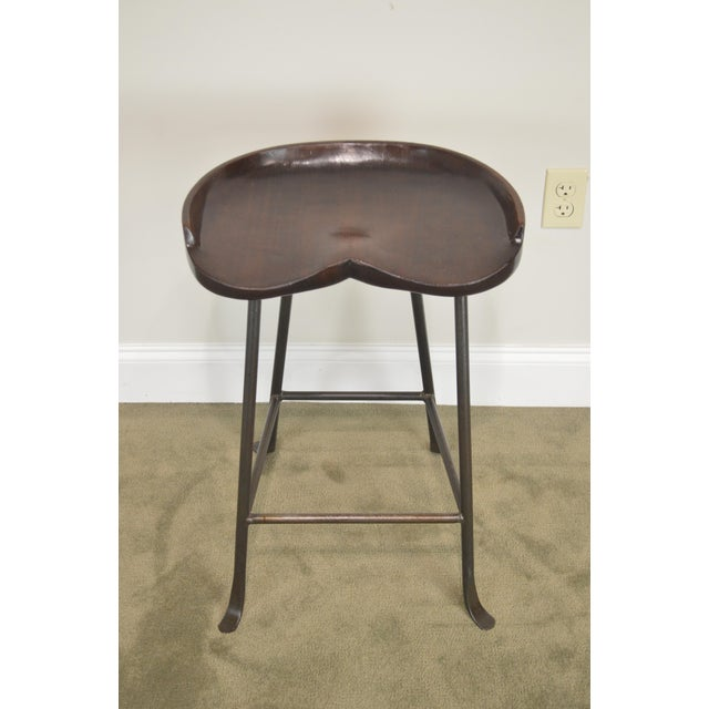 1990s Custom Quality Solid Wood Seat Pair of Iron Backless Bar Stools For Sale - Image 5 of 13