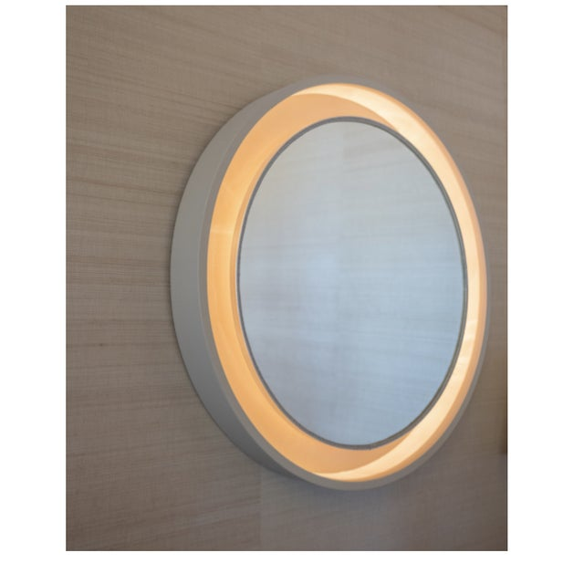 French Art Deco Porthole Mirror With Light For Sale - Image 4 of 4